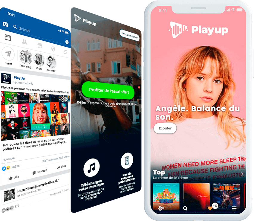 Playup mobile screen with ad, and landing page screens