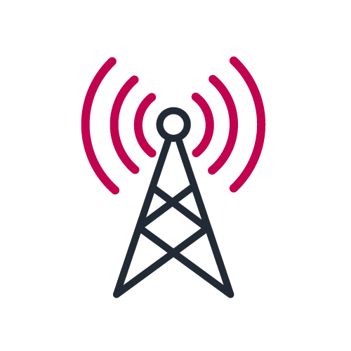 Broadcast antenna icon in bicolor to illustrate Telecom Payment expertise