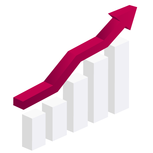 Charts with arrow following growth illustration