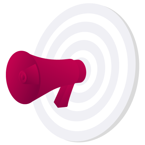 Bullhorn in target illustration