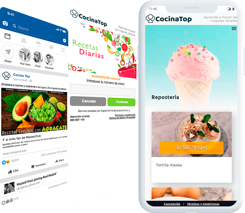 Cocina Top mobile screen with ad, and landing page screens