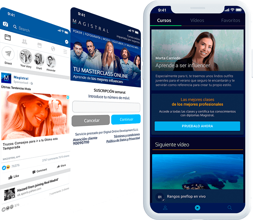 Magistral mobile screen with ad, and landing page screens