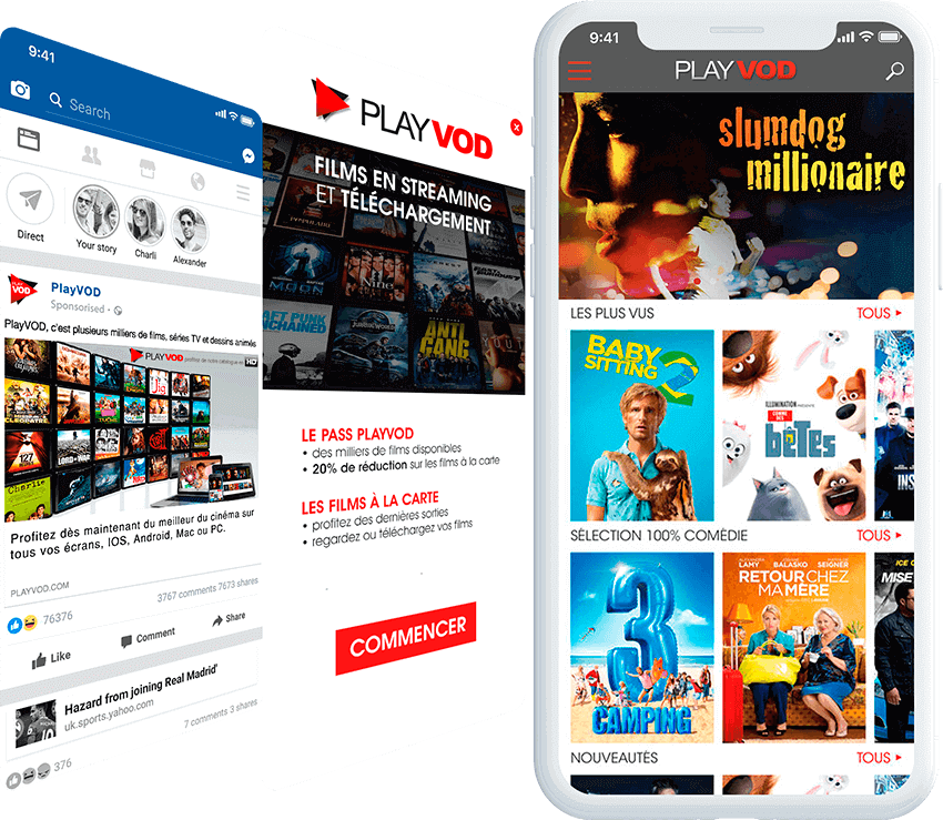 PlayVOD mobile screen with ad, and landing page screens
