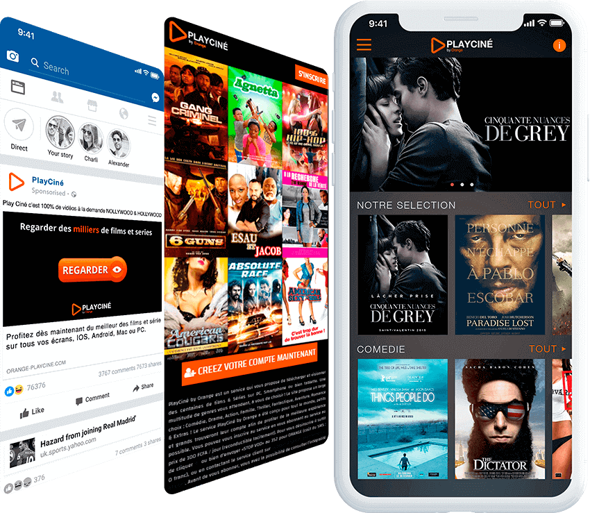Playciné by Orange mobile screen with ad, and landing page screens
