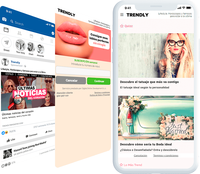 Trendly mobile screen with ad, and landing page screens