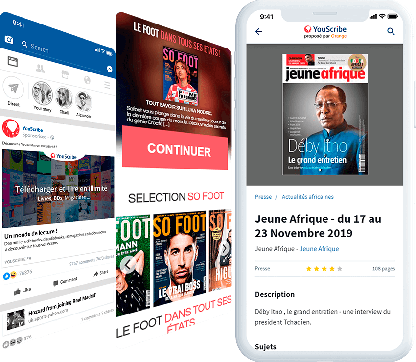 Youscribe mobile screen with ad, and landing page screens
