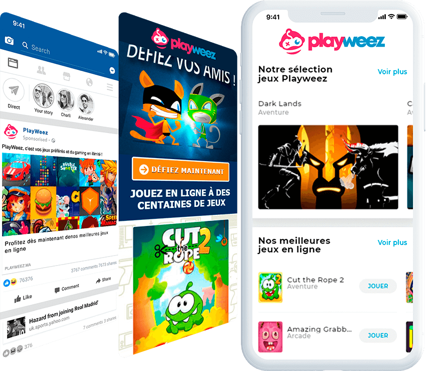 Playweez mobile screen with ad, and landing page screens