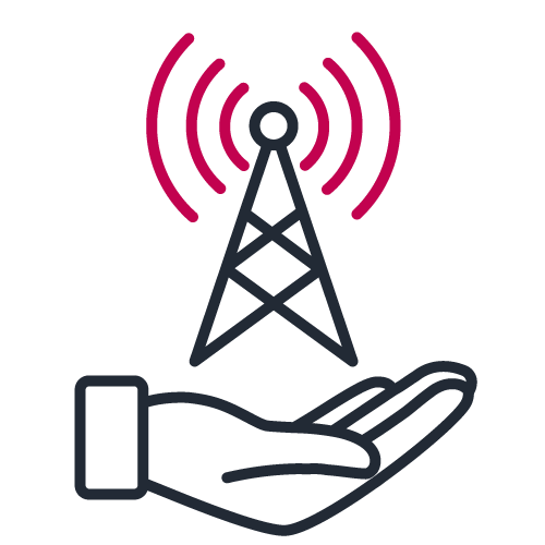 Hand holding a broadcast antenna icon in bicolor to illustrate telecom operators